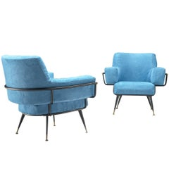 Pair of Italian Lounge Chairs in Blue Velvet