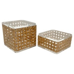Pair of Box in Lucite & Rattan Christian Dior Home Style, Italy, 1970s