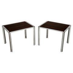 Pair of Vintage Italian Chrome Side Tables