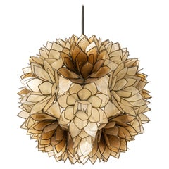 Capiz Shell Lotus Ball Chandelier Pendant Light Germany, 1960s