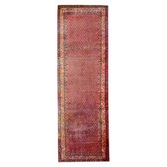 Handwoven Wool Runner Rug Traditional Red Tribal Carpet Rug