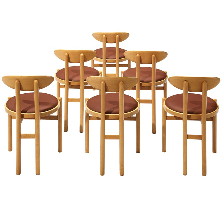 Pozzi Italian Dining Chairs in Beech  For Sale