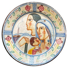 """""""Family in Italy,"""" 1930s Art Deco Wall Charger with Father, Mother and Son"""