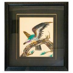 Rare Amethyst, Jade & Gemstone Three Dimensional Painting of Bird One of a Kind