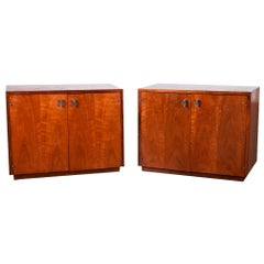 Pair Mid Century Walnut Nightstands Cabinets Attributed to Jack Cartwright