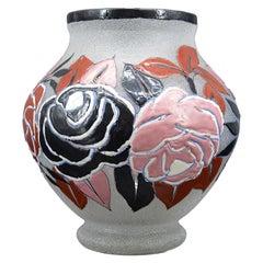 Adrien Mazoyer French Art Deco Enameled Flower Vase, 1920s