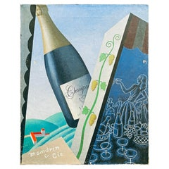 """""""Toasting with Champagne,"""" Striking Art Deco-Cubist Painting, France"""