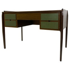Mid-Century Modern Wooden Italian Desk with 4 Green Drawers