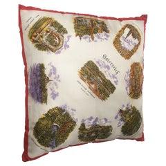 Mid-Century Modern Vintage Souvenir Silk Scarf Throw Pillow from 1970s