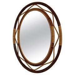 Mid-Century Modern Spanish Wicker and Cane Oval Wall Mirror, 1960s