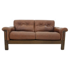 1970s Brown Leather 2-Seater Sofa, Denmark