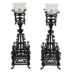 Late 1800s Hand Forged Wrought Iron Table Lamps Electrified w/ Hand Blown Shades