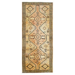 Oriental Wool Runner Rug Handwoven Carpet Cream Tribal Rug Runner