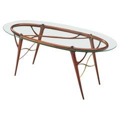 Silvio Cavatorta Sculptural Table in Mahogany and Glass