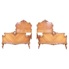 Antique Romweber French Rococo Louis XV Inlaid Satinwood Twin Beds, Pair