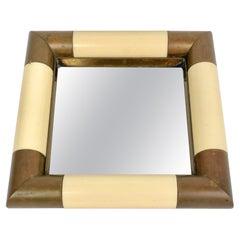 Tommaso Barbi Squared Brass & Mirror Vide Poche, Italy, 1970s