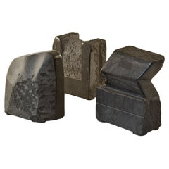 Group of Black Granite Geometric Abstract Dutch Sculptures