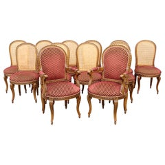 Set 12 Italian Caned Back Carved French Louis XVI Style Walnut Dining Chairs