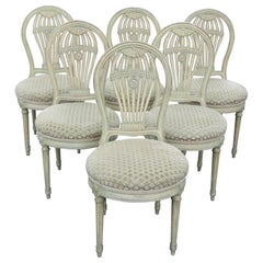 Set 6 Signed Maison Jansen Balloon Back Carved Green Painted Dining Chairs