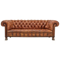 Antique French Leather Chesterfield Sofa Bronze Lion Paw Feet, Horsehair Padding