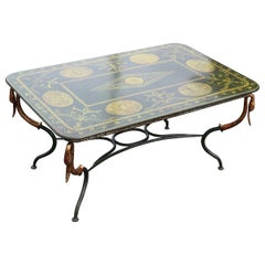 Gilded Wrought Iron Painted Metal Top French Empire Coffee Table Circa 1920s Era