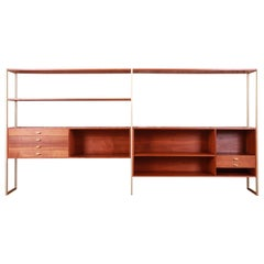 Paul McCobb Connoisseur Collection Walnut and Brass Etagere or Room Divider