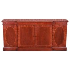 Baker Furniture Georgian Inlaid Mahogany Sideboard, Credenza, or Bar Cabinet