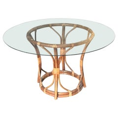 Mid-Century Modern Italian Bamboo and Cane Round Table with Glass Top, 1970s