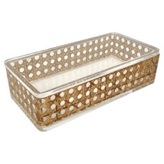 Rectangular Box Lucite and Rattan Christian Dior Home Style, Italy, 1970s