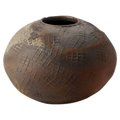 Eric Astoul, Vase Rond, La Borne, Sculptural Stoneware Vase, France, 2012
