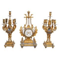 French Empire Gilt Bronze & Marble Garniture Set w/ Pair of Candelabras & Clock