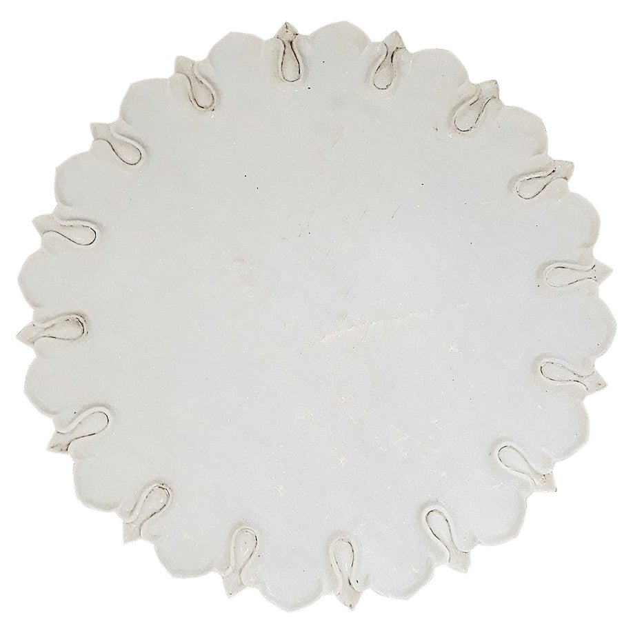 Hand-Carved Marble Charger / Server / Plate from India, Mid-20th Century