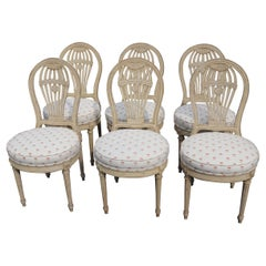 Set 6 Balloon Back Signed Maison Jansen Louis XVI Dining Chairs in Antique White