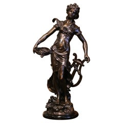 19th Century French Patinated Bronze Female Figure Signed L. A. Moreau