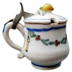 French Faience Mustard Pot With Pewter-hinged Cover, Late 18th Century