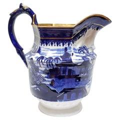 Blue Transfer Porcelain Willow Pattern Pitcher, English, circa 1825