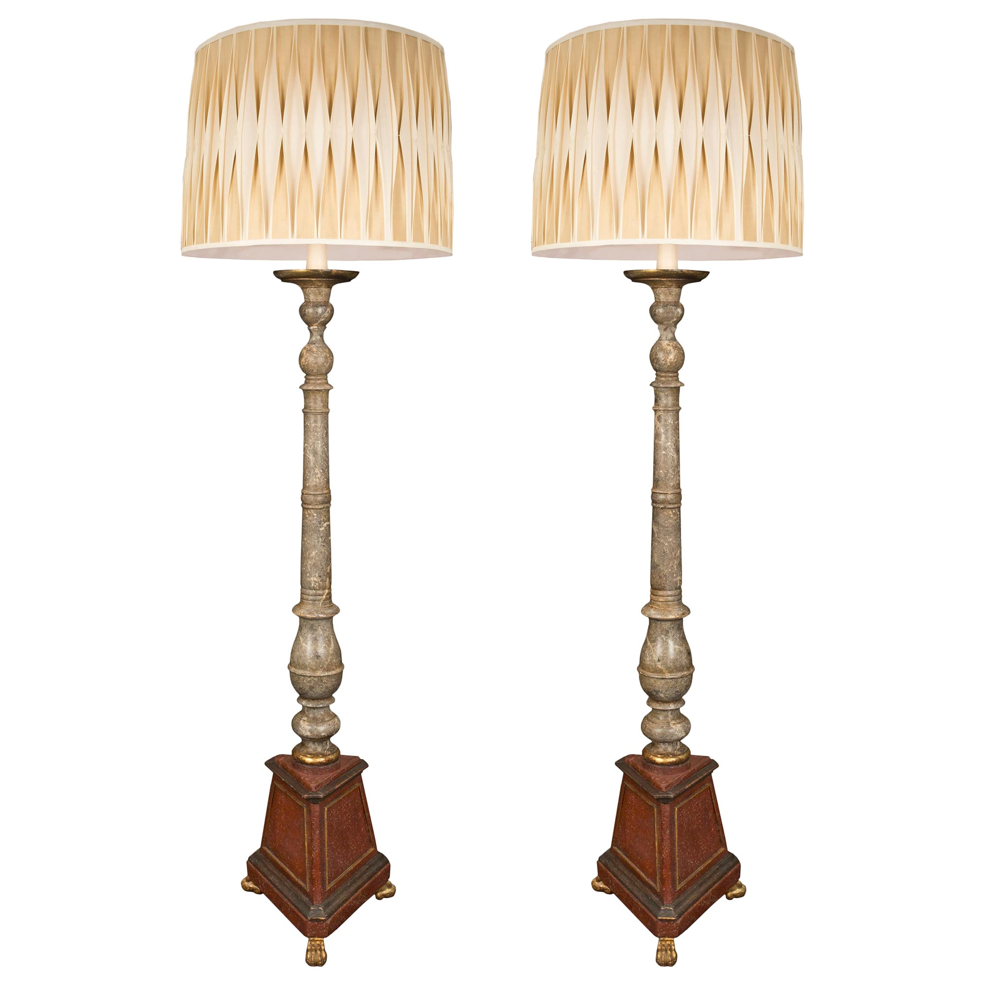 Pair of Italian 19th Century Faux Painted Marble Floor Lamps
