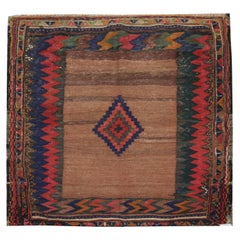 """Antique Rugs, Brown """"Sofreh"""" Wool Carpet, Small Square Kilims Area Rug"""