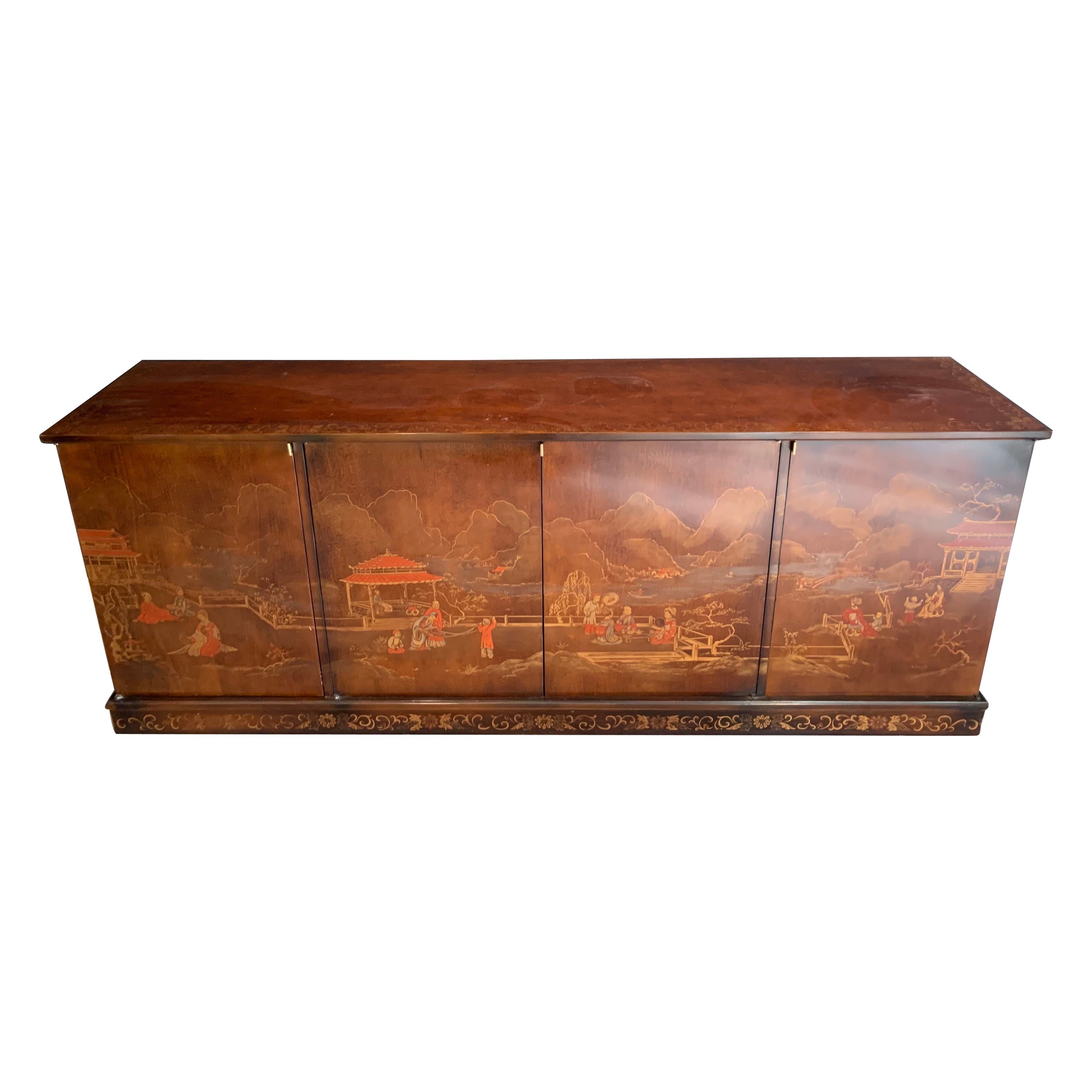 Mid-Century Modern Brown Chinoiserie Credenza Sideboard Buffet Bar Sideboard