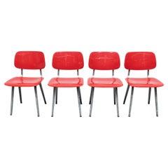 Set of 4 Friso Kramer Revolt Chairs with Grey Metal Frames