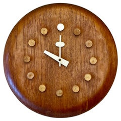 Mid-Century Modern Danish Wall Clock by Fritz Hansen, George Nelson, Teak, 1957