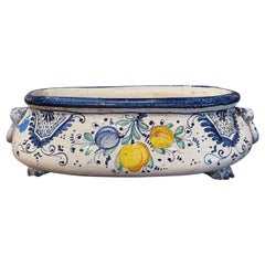Early 20th Century French Blue and White Hand Painted Bombe Faience Jardinière