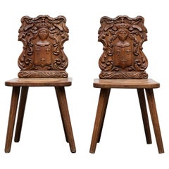 """Pair of Brutalist French Renaissance Style Hand Carved """"Fire Side"""" Chairs"""
