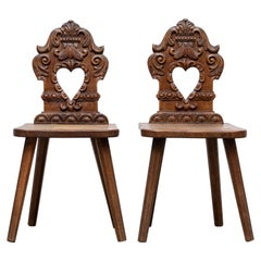 """Brutalist French Renaissance Style Hand Carved """"Fire Side"""" Chairs for Her"""