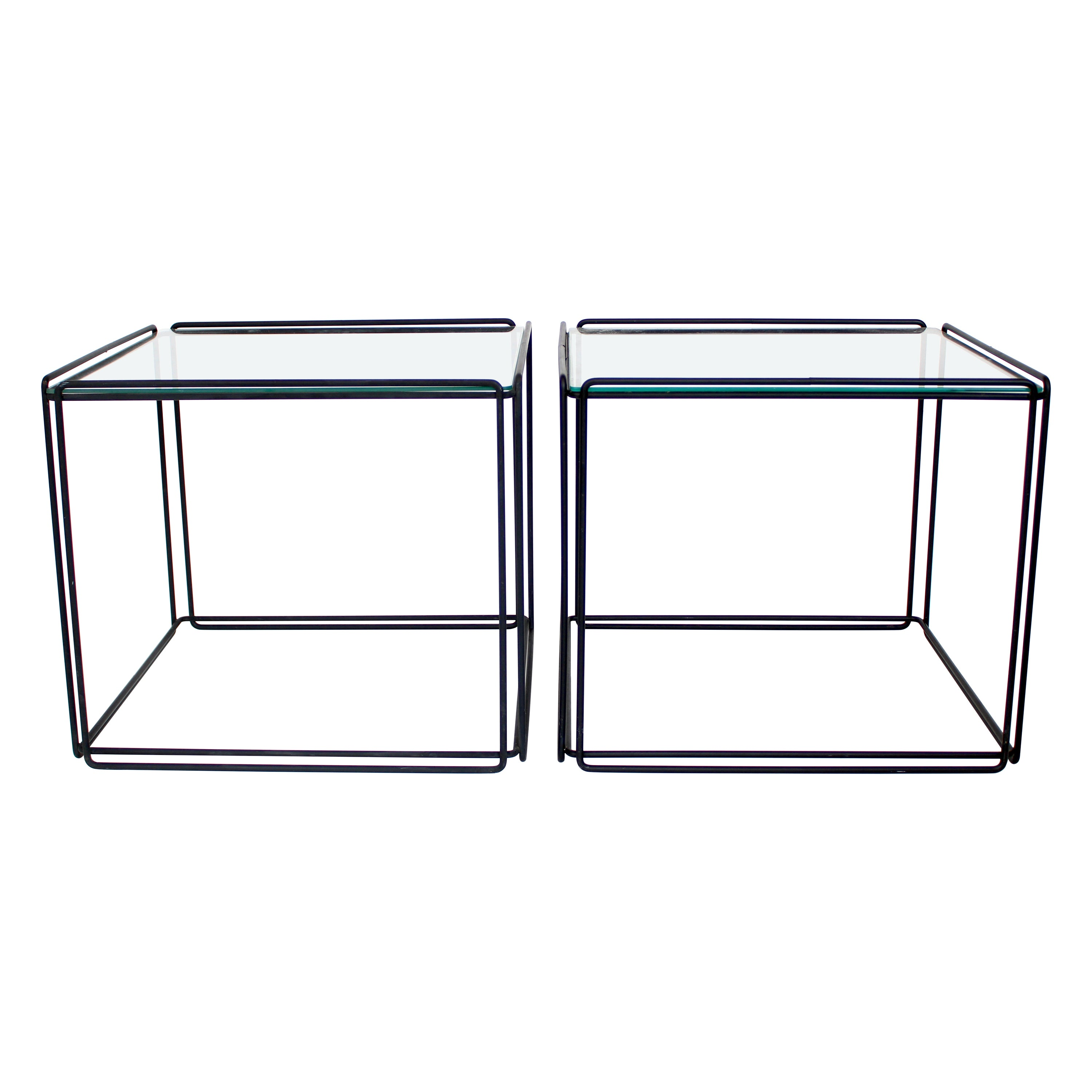 Max Sauze Isoceles Pair of Black Metal and Glass Side or Coffee Tables, France