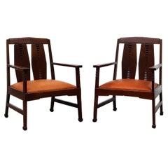 Pair of Art Deco, Amsterdam School Arm Chairs