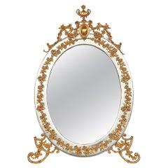 Italian 19th Century Louis XVI Style Ormolu and Silvered Bronze Vanity Mirror