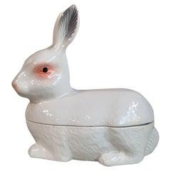 Majolica White Rabbit Tureen Caugant