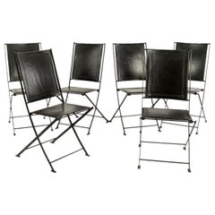 Set of Six Campaign Style Leather and Steel Dining Chairs