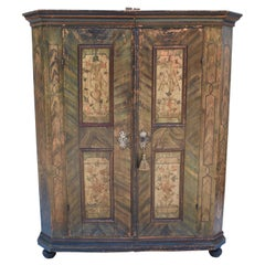 Baroque Style Pine Armoire in Original Decorative Paint